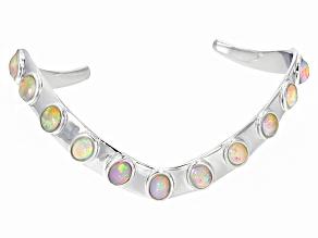 Ethiopian Opal Silver Cuff Bracelet 4.86ctw