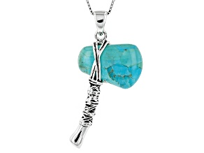 Blue Turquoise Silver Tomahawk Pendant With Chain