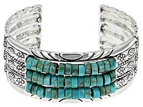 Blue Turquoise Silver Cuff Bracelet