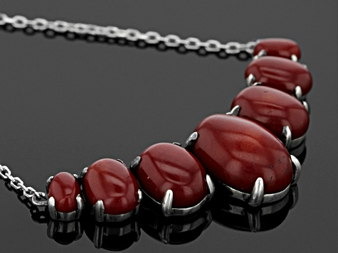 Red Sponge Coral Silver Necklace
