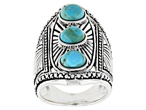 Blue Turquoise Silver 3-Stone Ring