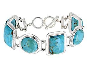 Blue Turquoise Silver Bracelet