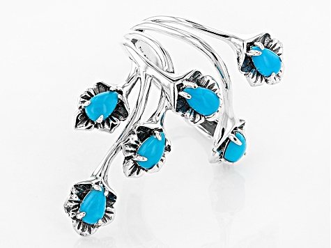 Turquoise Sleeping Beauty Silver Floral Ring