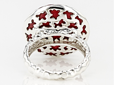 Red Bamboo Coral Silver Solitaire Ring