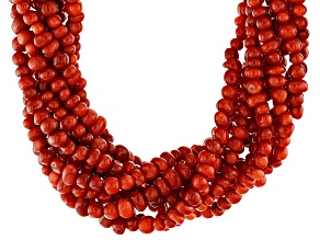 Red Bamboo Coral Bead Silver Ten-Strand Torsade Necklace
