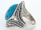 Blue Turquoise Silver Feather Ring