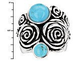 Blue Turquoise Sterling Silver Rose Ring