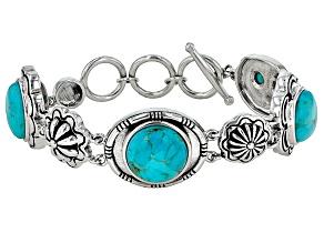 Blue Turquoise Silver Floral Bracelet