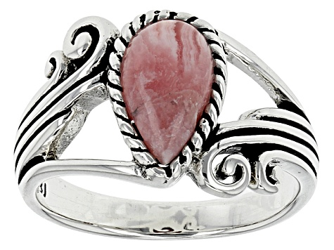 Pink Rhodochrosite Silver Solitaire Ring