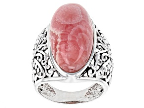 Pink Rhodochrosite Rhodium Over Sterling Silver Butterfly Ring
