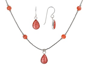 Pink Rhodochrosite Silver Necklace And Earring Set