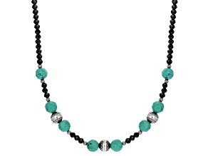 Blue Kingman Turquoise Silver Bead Necklace 35.00ctw