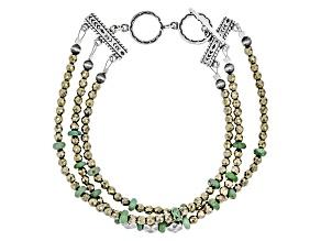 Turquoise Kingman Silver Bead Bracelet