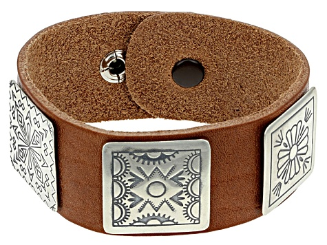 Stamped Medallion Silve Leather Band Bracelet