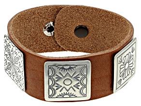 Stamped Medallion Silve Leather Band Bracelet