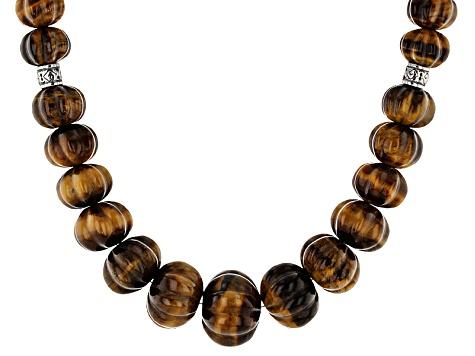 ccab659de3bdc Bi-Color Tiger's Eye Silver Bead Necklace