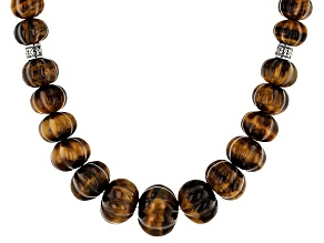 Bi-Color Tiger's Eye Silver Bead Necklace