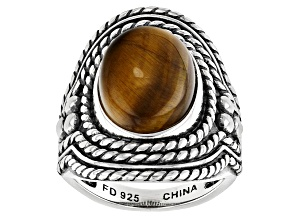 Bi-Color Tiger's Eye Silver Soitaire Ring