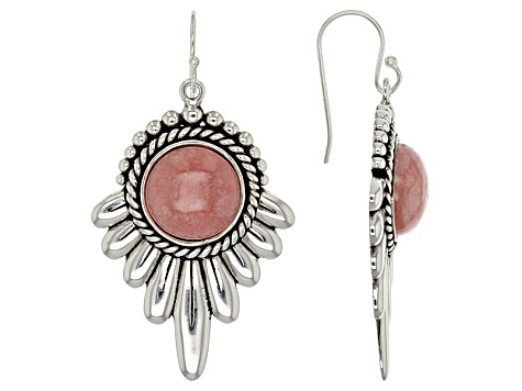 Pink Rhodochrosite Silver Dangle Earrings