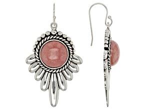 Pink Rhodochrosite Silver Dangle Earrings