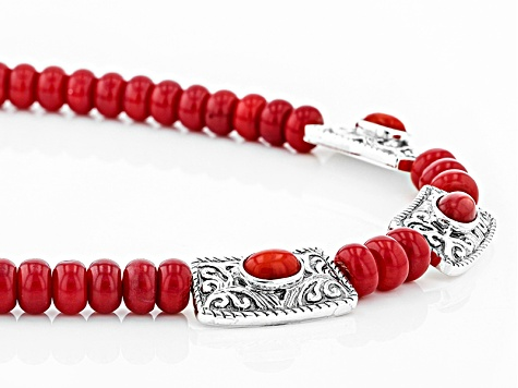 Red Bamboo Coral Sterling Silver Necklace