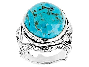 Blue Turquoise Silver Vine And Leaf Ring