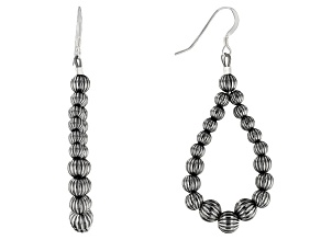 Sterling Silver Corrugated Bead Earrings