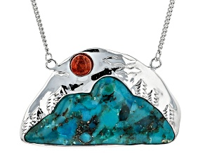 Blue Turquoise Silver Mountain Necklace