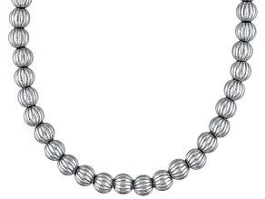 Sterling Silver Corrugated Bead Necklace