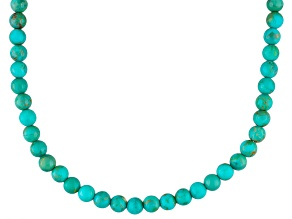 Blue Turquoise Sterling Silver Bead Necklace