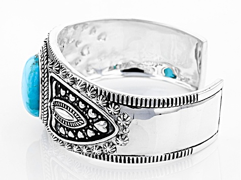 Blue Turquoise Silver Cuff Bracelet