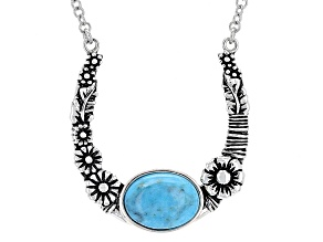 Blue Turquoise Sterling Silver Horseshoe Necklace