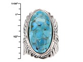 Blue Turquoise Rhodium Over Sterling Silver Feather Ring