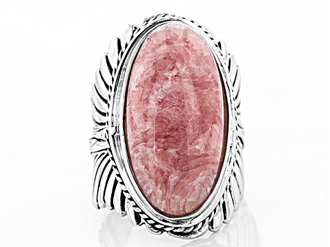 Pink Rhodochrosite Silver Feather Ring