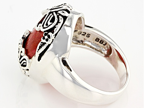 Red Sponge Coral Silver Butterfly Ring