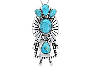 Turquoise Kingman Silver Kachina Doll Pendant With Chain