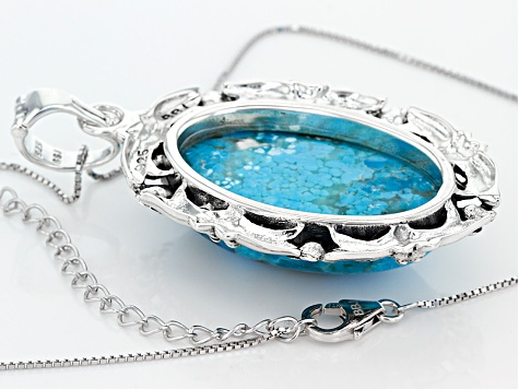 Turquoise Blue Sterling Silver Enhancer With Chain