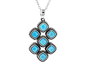 Turquoise  Sleeping Beauty Sterling Silver Pendant With Chain