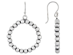 Sterling Silver Oxidized Bead Hoop Earrings