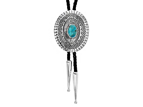 Blue Turquoise Silver Bolo Necklace