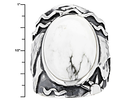 White Magnesite Silver Mountain Ring