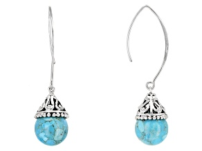 Turquoise Blue Rhodium Over Sterling Silver Earrings
