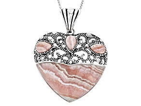 Pink Rhodochrosite Sterling Silver Heart Pendant With Chain