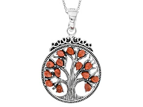 Red Sponge Coral Silver Tree Of Life Enhancer With Chain
