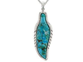 Turquoise Sterling Silver Feather Pendant
