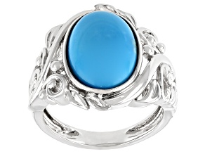 Turquoise Sleeping Beauty Rhodium Over Sterling Silver Ring