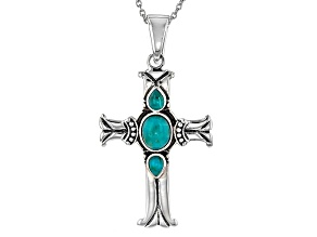 Blue Turquoise Sterling Silver Cross Enhancer