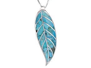 Turquouise Sterling Silver Leaf Pendant With Chain