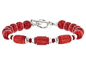 Red Coral Sterling Silver Bracelet