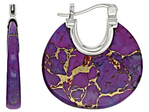 Purple Kingman Mohave Turquoise Sterling Silver Earrings
